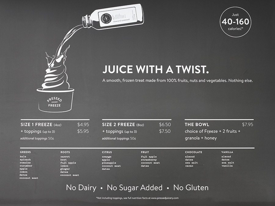 Pressed Juicery Freeze Menu