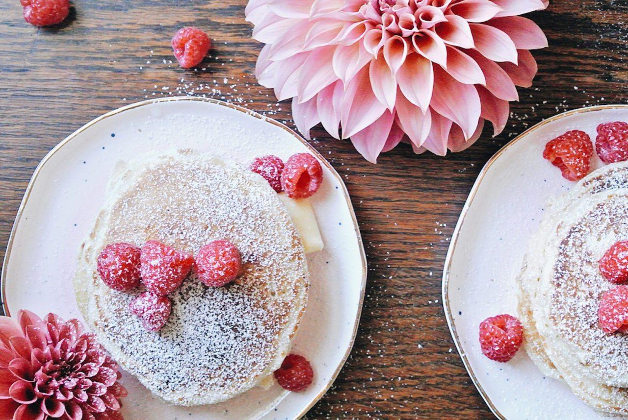 Sourdough raspberry pancakes