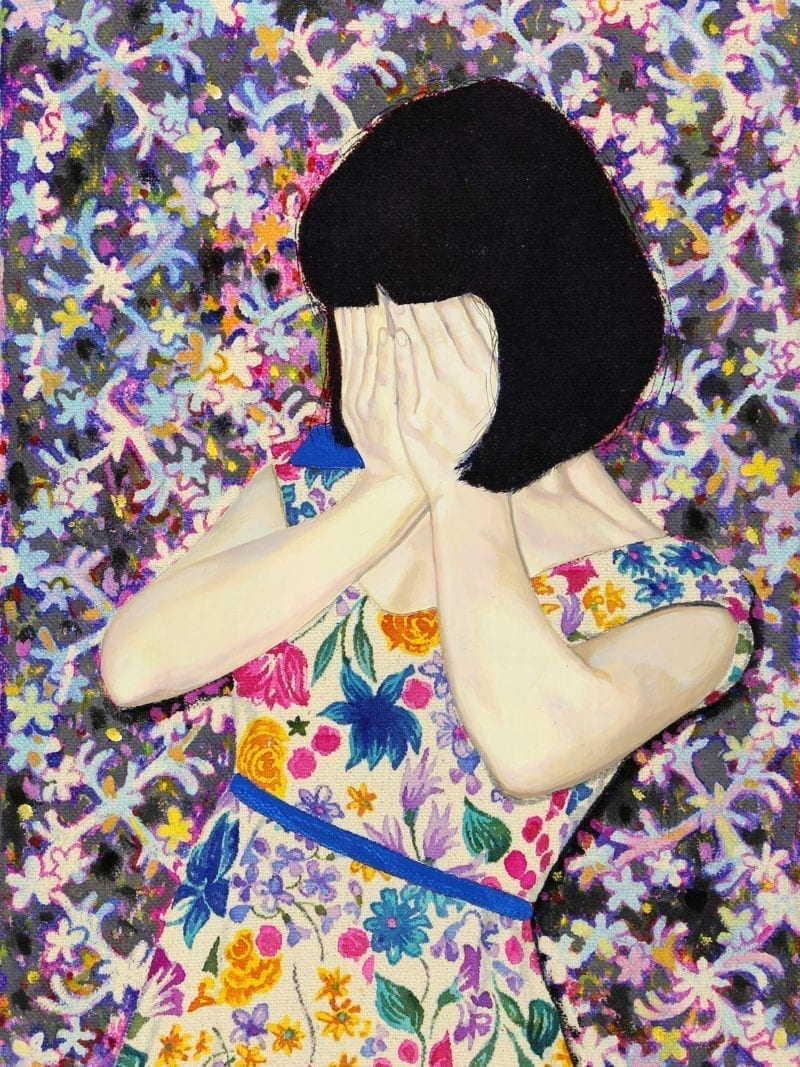 An illustration of a young girl wearing a floral dress as she covers her face and stands i