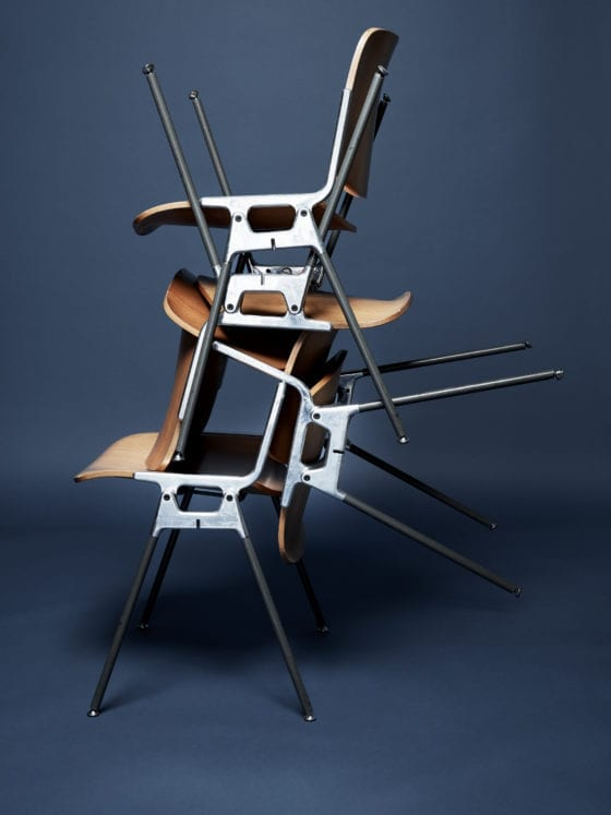 Chairs stacked on each other at different angles