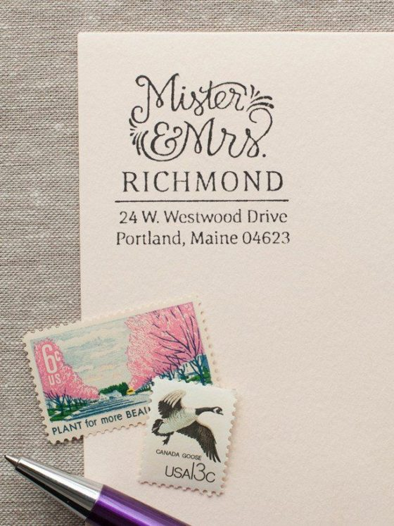 A letter, stamps and pen
