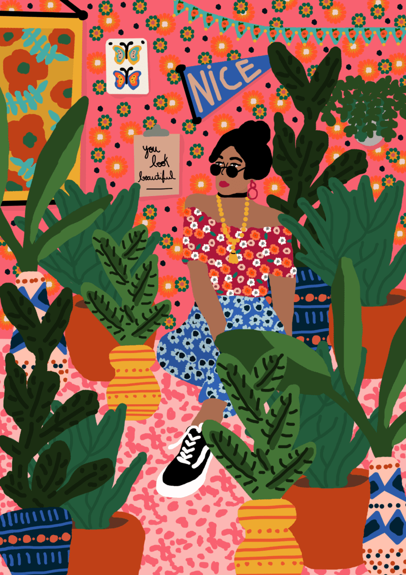 An illustration of a girl seated on her room and looking over her shoulder surrounded by plants.