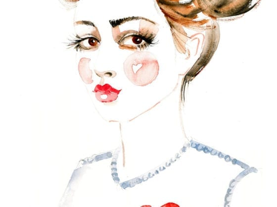 An illustration of a young girl with rosy cheeks and a t-shirt with a heart on it