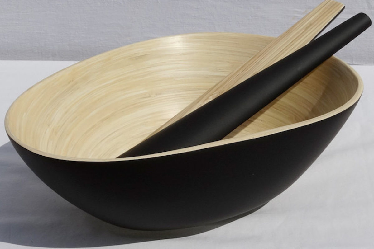 A large wooden serving bowl