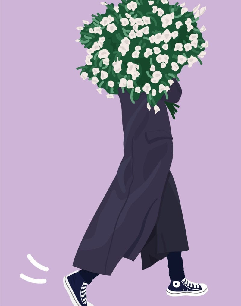 An illustration of a woman carrying flowers