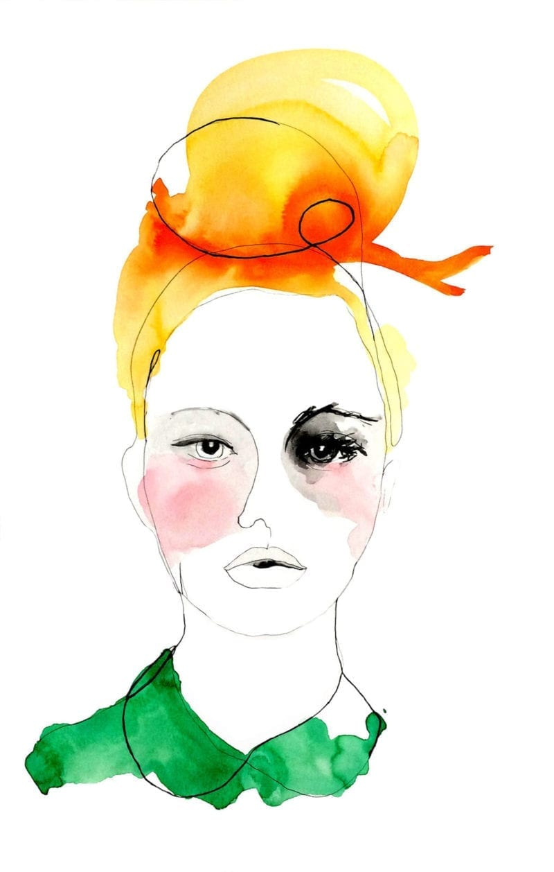 An illustration of a blonde woman with her hair in a top bun and tied with a bow