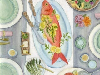 An illustration of a table with food and dinner plates set for dinner