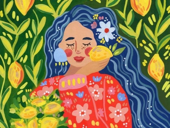 An illustration of a woman with long dark hair holding a basket of lemons