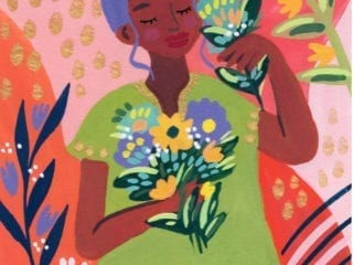An illustration of a black woman holding bouquets of flowers
