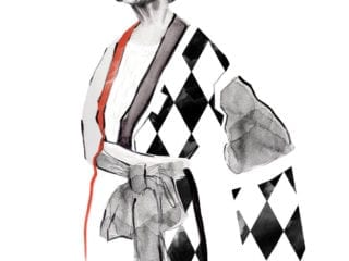 An illustration of an older woman in a kimono