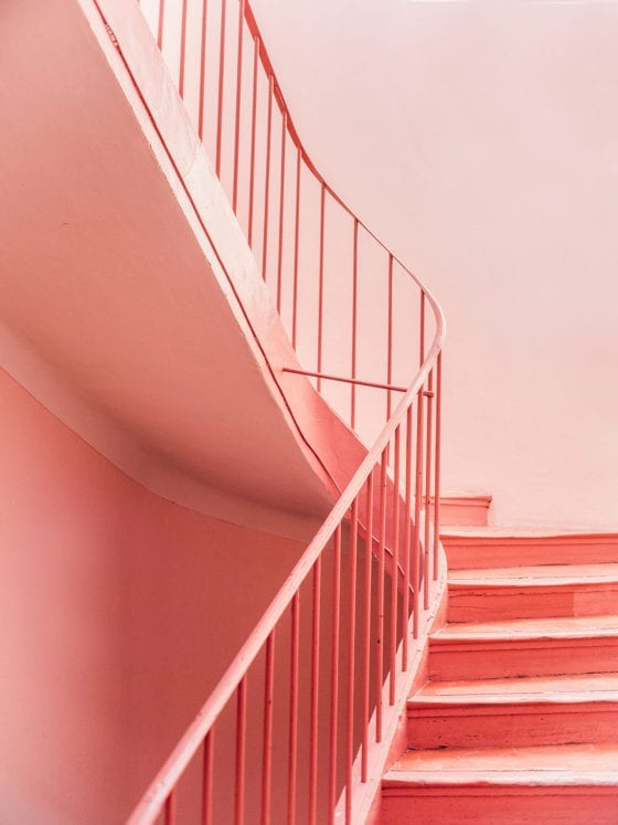 A series of pink stairs