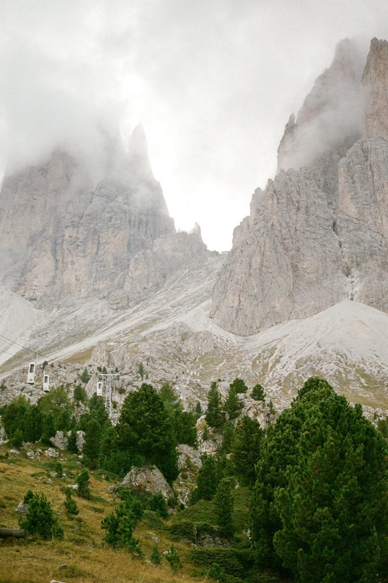 A mountains cape covered by dark clouds